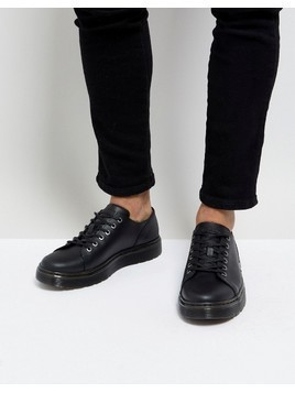 Dr Martens Dante Straw Grain Leather 6 Eye Shoes - Black