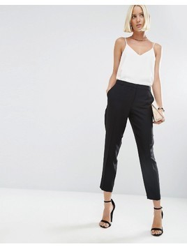 ASOS Ankle Grazer Cigarette Trousers in Crepe - Black