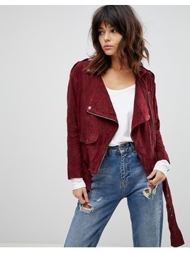Muubaa Fleetwood Boxy Suede Biker Jacket - Red
