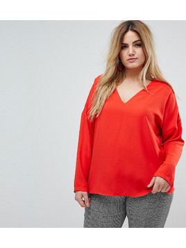 River Island Plus Lace Up Back Blouse - Red