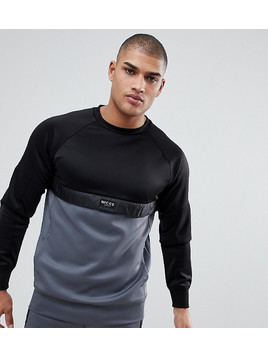 Nicce London TALL Track Sweatshirt In Black With Grey Panel - Black