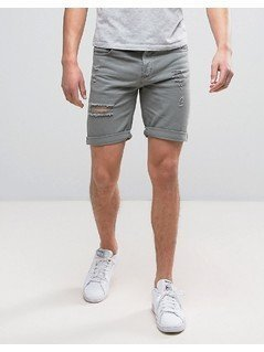 Pull&Bear Denim Shorts With Rips In Washed Out Grey - Black