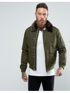 Schott Air Bomber Jacket Detachable Faux Fur Collar Slim Fit in Green/Brown - Green