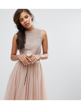 Maya Tall Sleeveless Sequin Top Midi Dress With Tulle Skirt And Bow Back Detail - Pink
