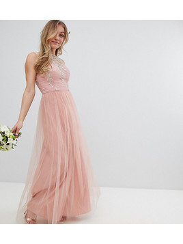 Chi Chi London Petite Sleeveless Maxi Dress with Premium Lace and Tulle Skirt - Pink