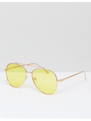 Skinnydip Yellow Lens Aviator Sunglasses - Yellow