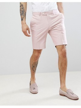 River Island Skinny Fit Oxford Suit Shorts In Pink - Pink
