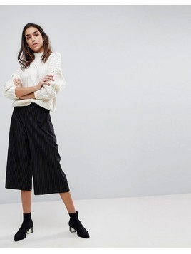 Missguided Pinstripe Tailored Culottes - Navy