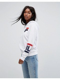 Fila Oversized Boyfriend Hoodie With Chest Logo&Arm Bands - White