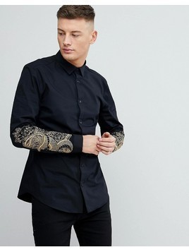 River Island Slim Fit Shirt With Snake Embroidery In Black - Black