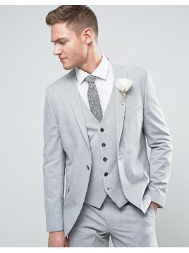Selected Homme Wedding Skinny Suit Jacket - Grey
