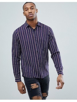 ASOS DESIGN regular fit stripe shirt - Navy