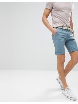 Bellfield Chino Shorts With Belt - Blue