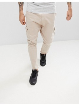 Bershka Frayed Hem Cargo Trousers In Beige - Beige