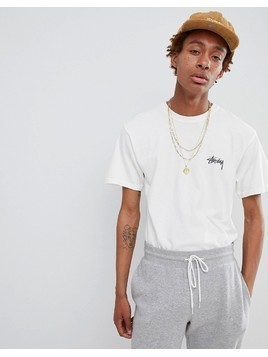 Stussy T-shirt With Warrior Back Print in White - White