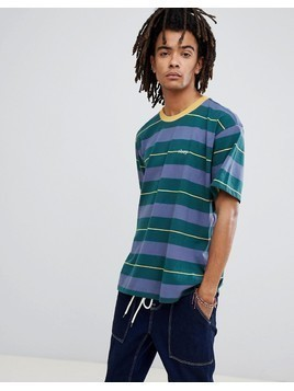 Obey Boxy Striped T-Shirt In Green - Green