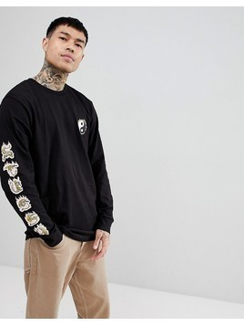 Stussy Long Sleeve T-Shirt With Yin Yang Fire Print In Black - Black