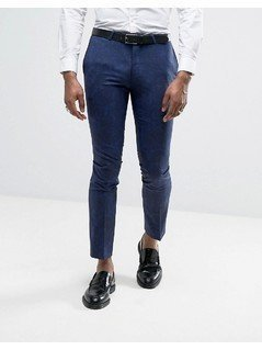 Noose&Monkey Super Skinny Tuxedo Suit Trousers In Paisley - Blue
