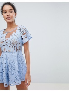 Love Triangle Lace Playsuit - Blue