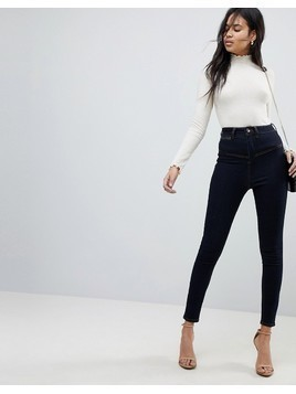 ASOS RIDLEY High Waist Skinny Jeans With Corset Detail in Indigo - Blue