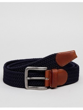 Esprit Woven Belt With Leather Detail - Navy