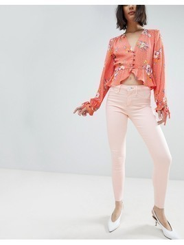 River Island Molly Light Pink Skinny Jeans - Pink