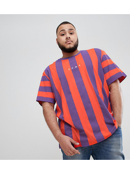 Puma PLUS Vertical Stripe T-Shirt In Red Exclusive To ASOS - Red
