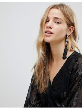 New Look Gem Ball And Tassel Earrings - Black