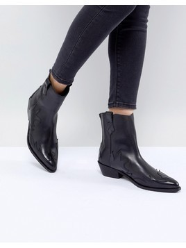 Mango Leather Cowboy Boot - Black