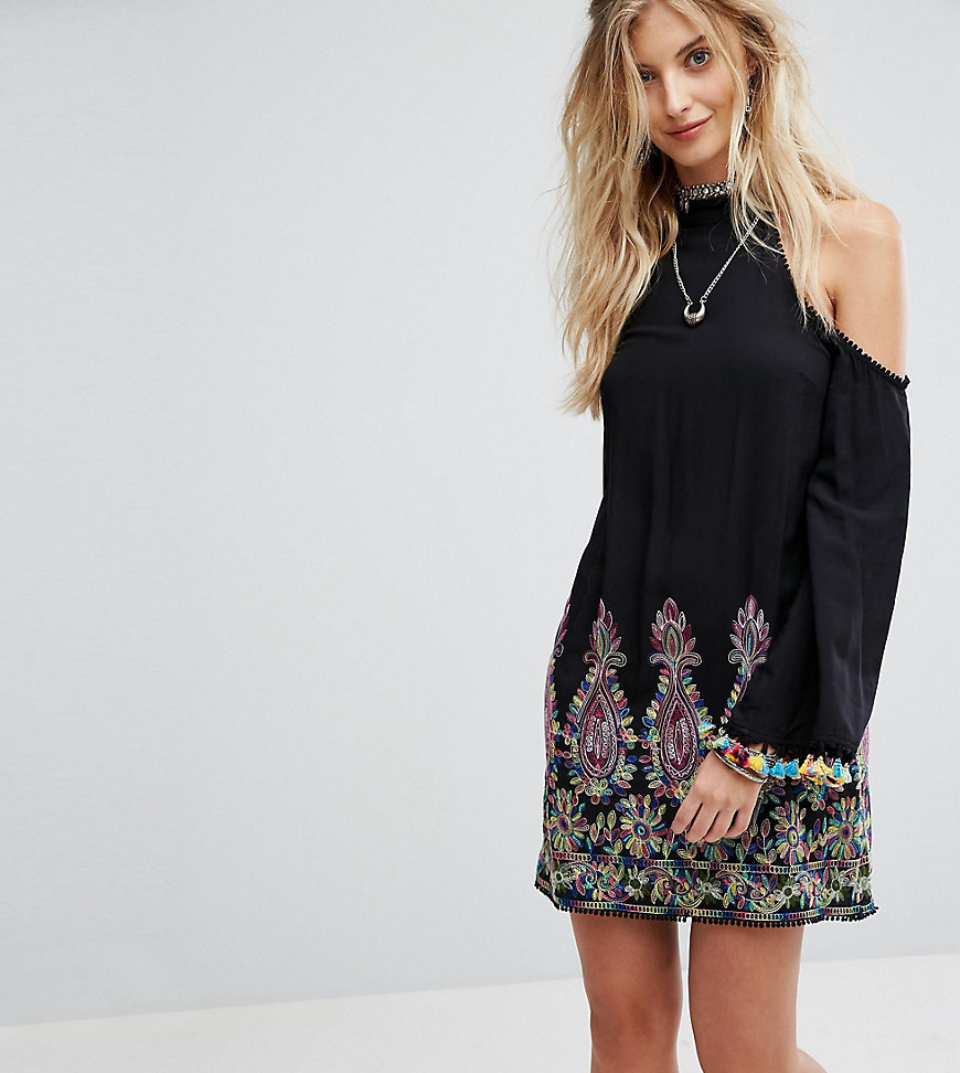 Kiss The Sky High Neck Swing Dress With Rainbow Embroidery And Pom Pom Trim - Black
