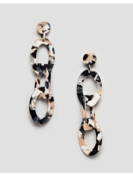 ASOS DESIGN earrings in linked resin shape design - Multi