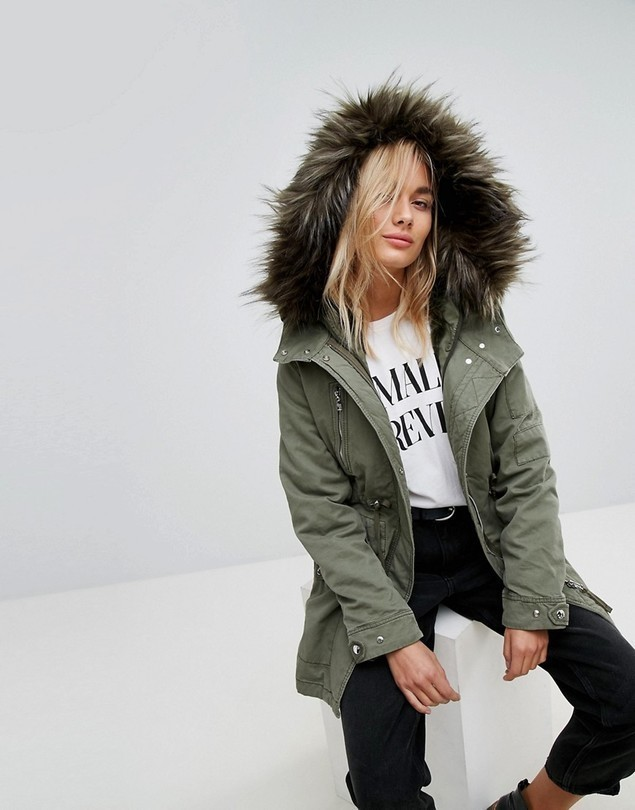 Bershka Traditional Parka Coat - Green