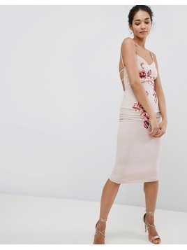 Hope & Ivy Embroidered Cami Dress - Cream