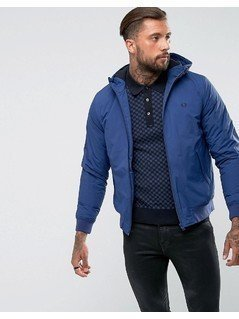 Fred Perry Brentham Quilted Jacket With Hood In Blue - Blue