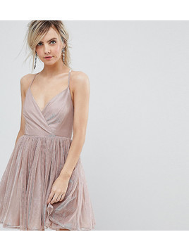 ASOS PETITE Metallic Tulle Mini Dress - Pink