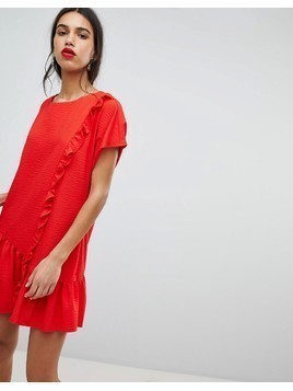 Lost Ink Shift Dress With Asymmetric Frill Hem - Red