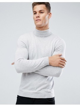 Burton Menswear Roll Neck Knit In Pale Grey - Grey