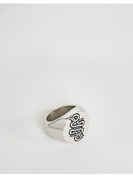 ASOS Ring With Embossed Snake In Burnished Gunmetal - Black