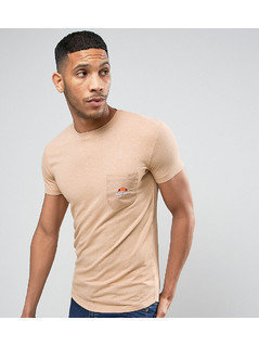 Ellesse Longline Muscle Fit T-Shirt With Pocket - Stone