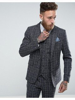 Gianni Feraud Skinny Fit Blue Checked Suit Jacket - Blue