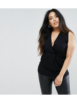 ASOS CURVE Longline Top with Twist Front - Black