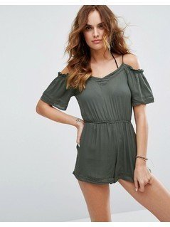 New Look Cold Shoulder Beach Playsuit - Green