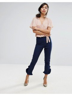 Fashion Union Trouser With Frill - Navy