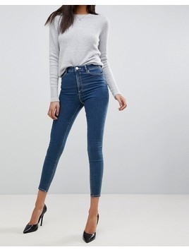 ASOS DESIGN Ridley high waist skinny jeans in mid blue wash - Blue