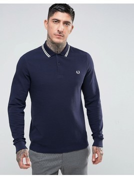 Fred Perry Slim Fit Long Sleeve Tipped Polo In Navy - Navy