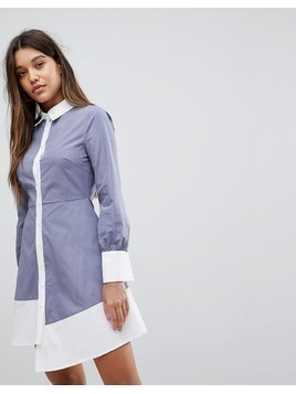 Fashion Union Shirt Dress With Contrast Details And Asymmetric Hem - Grey