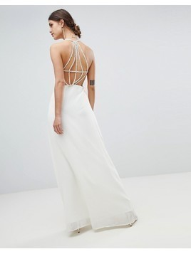 Minuet Exposed Back Maxi Dress With Strap Detail - White