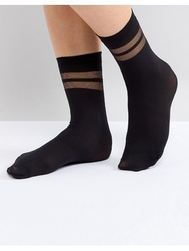 Gipsy Stripe Ankle Sock - Black