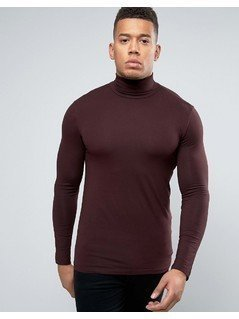 New Look Muscle Fit Roll Neck Top In Burgundy - Purple