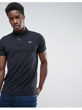 Hollister Polo Tipped Pique Icon Logo Slim Fit in Black - Black